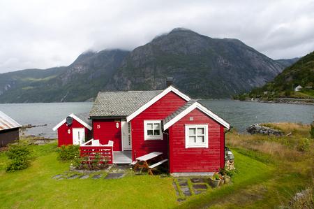 hardanger: red houses Eidflord Hardanger flord, Norway