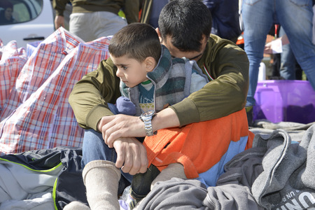 Mytilini, Lesvos, Greece, 03-March-2016: Refugees child arriving at Lesvos. After they flee from their home country. They travel from Turkey to Greece to get to Europe. 報道画像