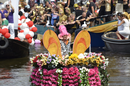 Amsterdam, Netherlands - August 2, 2014: participants in the annual event for the protection of human rights and civil equality - Gay Pride Parade on the Prinsengracht, Amsterdam Editorial
