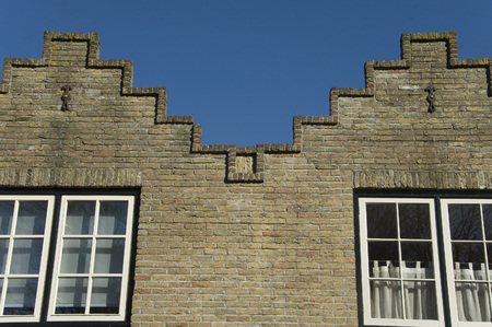 Traditional Dutch stepped gable rooftop, Texel the Netherlands