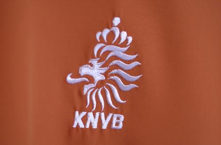 The logo of the Koninklijke Nederlandse Voetbalbond. Royal Dutch football union Editorial