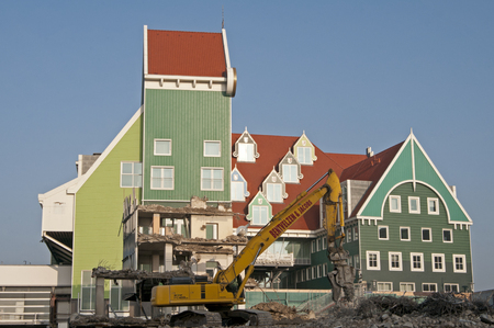 A modern take on traditional Dutch architecture under construction