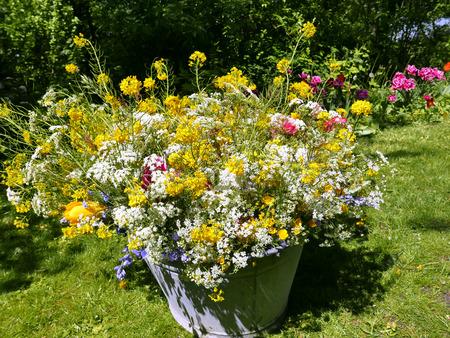 roadflower bouquets in a vintage tin bin in the garden