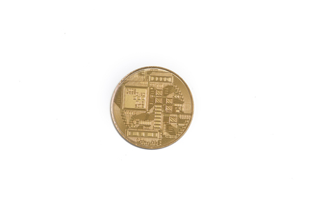 bitcoin gold coin cryptocurrency a digital money concept Stock Photo
