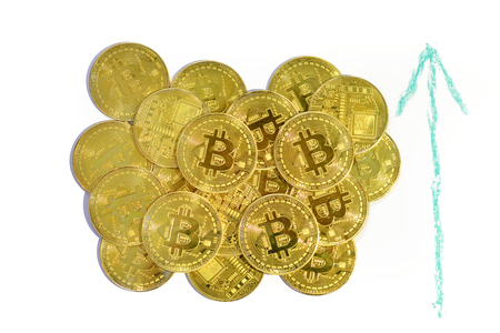 bitcoin gold coin cryptocurrency a digital money concept 写真素材