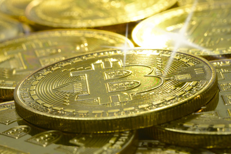 a bitcoin blinking bling bling with a star of light