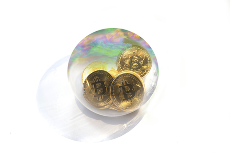 a bitcoin soap bubble isolated on a white background Stockfoto