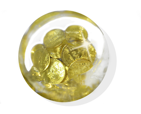a bitcoin water bubble isolated on a white background 写真素材