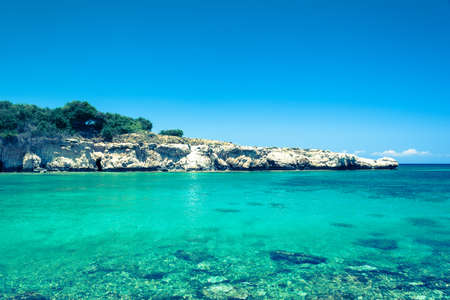 clear waters: Crystal clear waters and sandstone rocks of the Mediterranean Sea, Cyprus Stock Photo