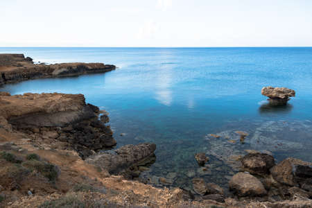clear waters: Rocky sea cost and crystal clear waters of Cyprus