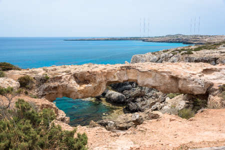napa: Stone Arch on Cape Greko, Ayia Napa, Cyprus Stock Photo