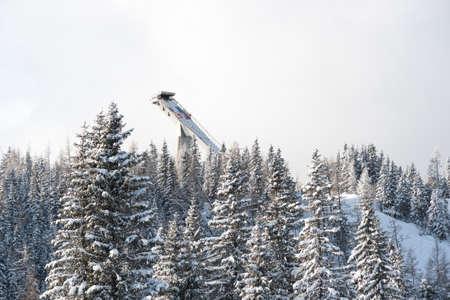 ski jump: A distant view on a ski jump in Strbskie Pleso, Slovakia