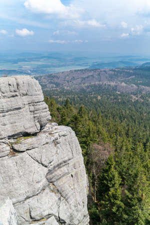 gory: A huge rock hill in Gory Stolowe, Poland Stock Photo