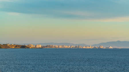 A distant view from a sea side on the forbidden city of Famagusta at sunrise, Cyprus Lizenzfreie Bilder