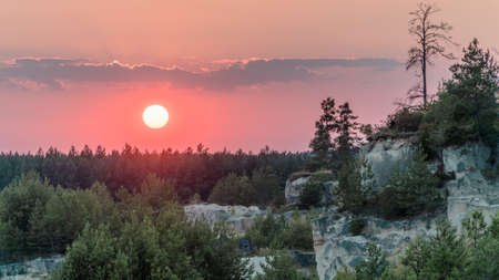 Rocks covered with trees and bushes at sunset.