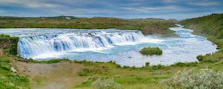 Panorama von Vatnsleysufoss (Faxi) Wasserfall in Island