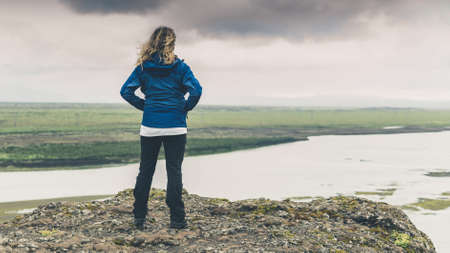 Young explorer girl Standard-Bild