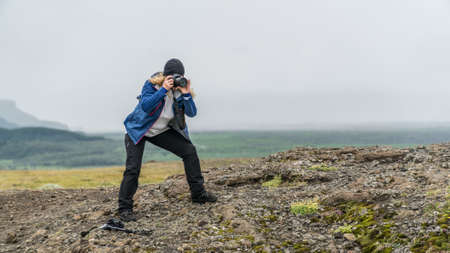 Young photographer woman Lizenzfreie Bilder