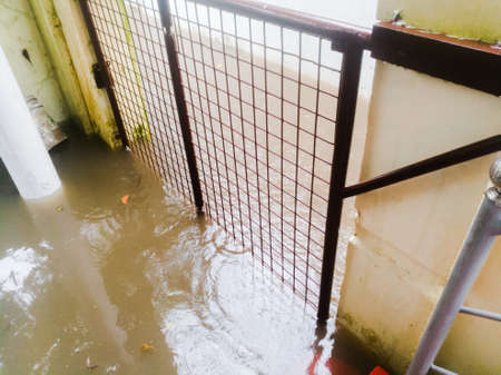 Rain water flooded into the house crossing the gate.The water has ripples due to rain.They also brings waste. Standard-Bild