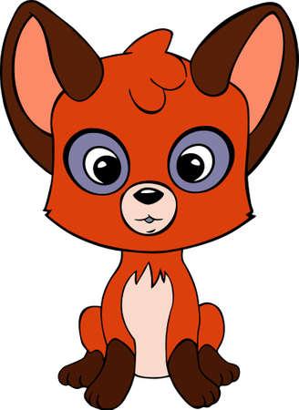 looking ahead: Cute little red fox Surprised looking ahead. Very cheerful and fun.