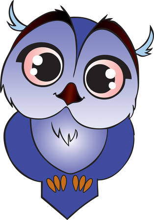 big eyes: Blue little owl with big eyes cartoon