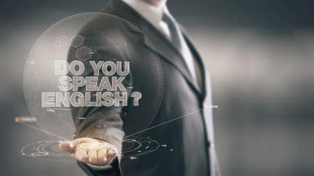 el mundo en tus manos: Do Your Speak English Businessman Holding in Hand New technologies