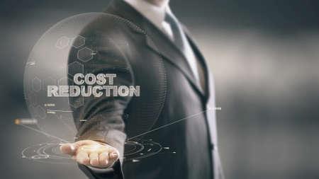 Kostenreductie met hologram zakenman concept Stockfoto