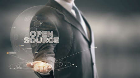 Open Source with hologram businessman concept