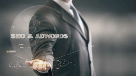 adwords: SEO Adwords with hologram businessman concept