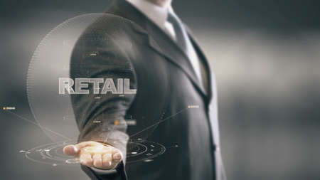 electronic commerce: Retail with hologram businessman concept