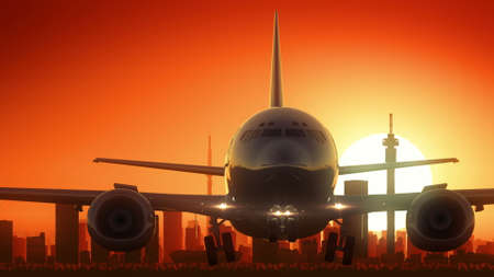 famous industries: Johannesburg South Africa Airplane Take Off Skyline Golden Background
