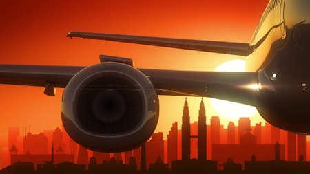famous industries: Kuala Lumpur Malaysia Airplane Take Off Skyline Golden Background Stock Photo