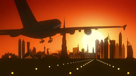 Dubai OAE Airplane Landing Skyline Golden Background