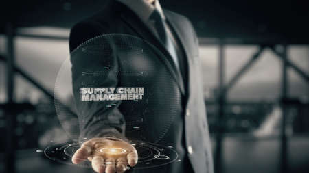 Supply Chain Management with hologram businessman concept