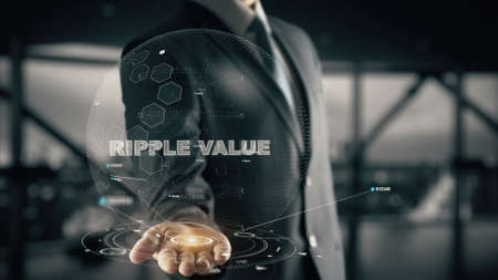 Ripple Value with hologram businessman concept