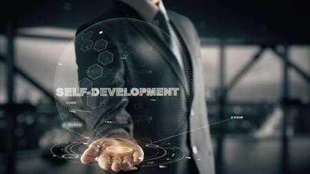 Self-Development with hologram businessman concept Reklamní fotografie