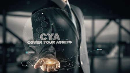 CYA-ホログラムビジネスマンのコンセプトであなたの資産をカバー