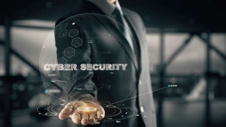 Cyber Security with hologram businessman concept Imagens