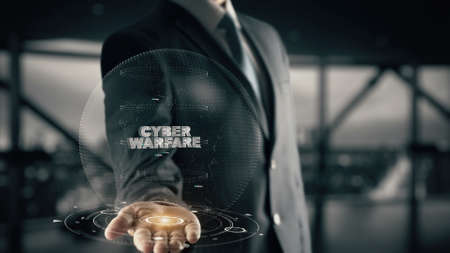 cyberwarfare: Cyber Warfare with hologram businessman concept