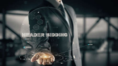Header Bidding with hologram businessman concept Stock Photo