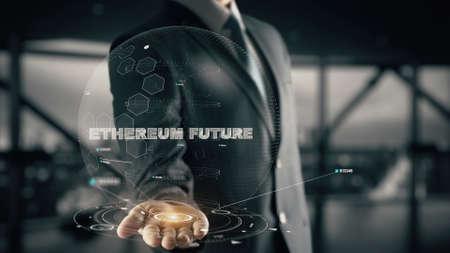 Ethereum Future with hologram businessman concept