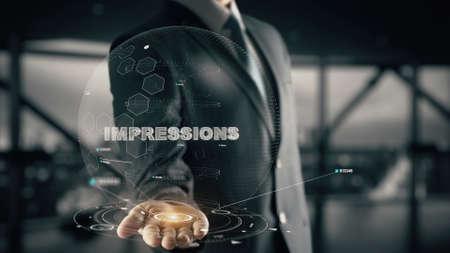 Impressions with hologram businessman concept Imagens