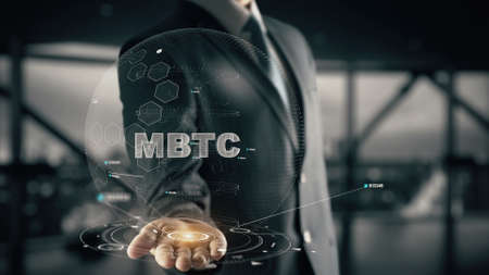 mBTC with hologram businessman concept