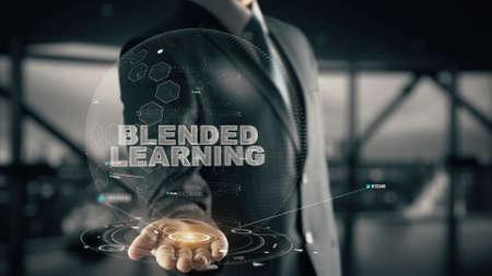 Blended Learning with hologram businessman concept Stok Fotoğraf