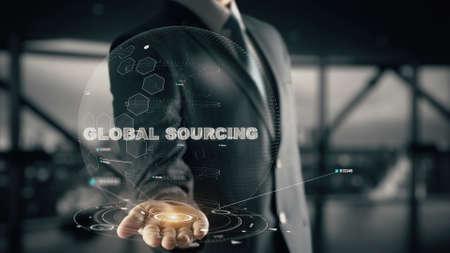 Global Sourcing with hologram businessman concept