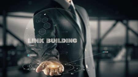 Link Building with hologram businessman concept Archivio Fotografico