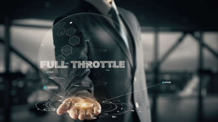 Full Throttle with hologram businessman concept Stock Photo