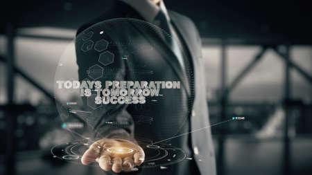 De voorbereiding van vandaag is morgen succes met hologramzakenmanconcept Stockfoto - 87937231