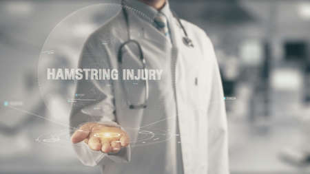 Doctor holding in hand Hamstring Injury