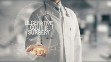 Doctor holding in hand Ulcerative Colitis Surgery